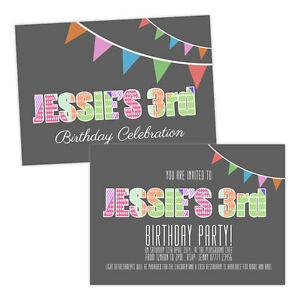 Personalised-children-039-s-birthday-party-invitations-GIRLS-FUN-KIDS-FREE-ENVELOPES