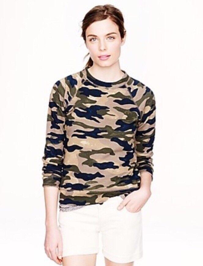111. J. Crew femmes sweatshirt camouflage M vert top manche longue nouveau