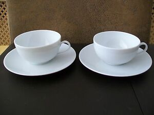 Two-Limoges-Cups-And-Saucers-Maison-De-La-Porcelaine