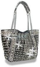 Designer Black  Rhinestone and Stud Accented Metallic Fashion Handbag