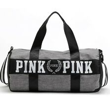 Victoria's Secret PINK Grey Canvas Yoga Duffle Bag School Holiday Gym Travel