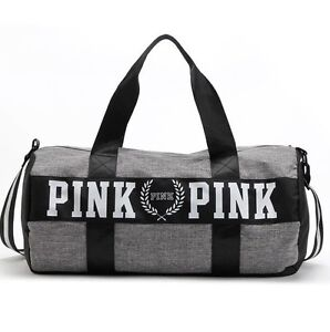 Image Is Loading Victoria 039 S Secret PINK Grey Canvas Duffle