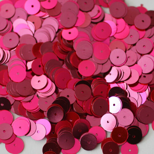 8mm Flat SEQUIN PAILLETTES ~ FLUORESCENT HOT PINK Metallic ~ Made in USA.
