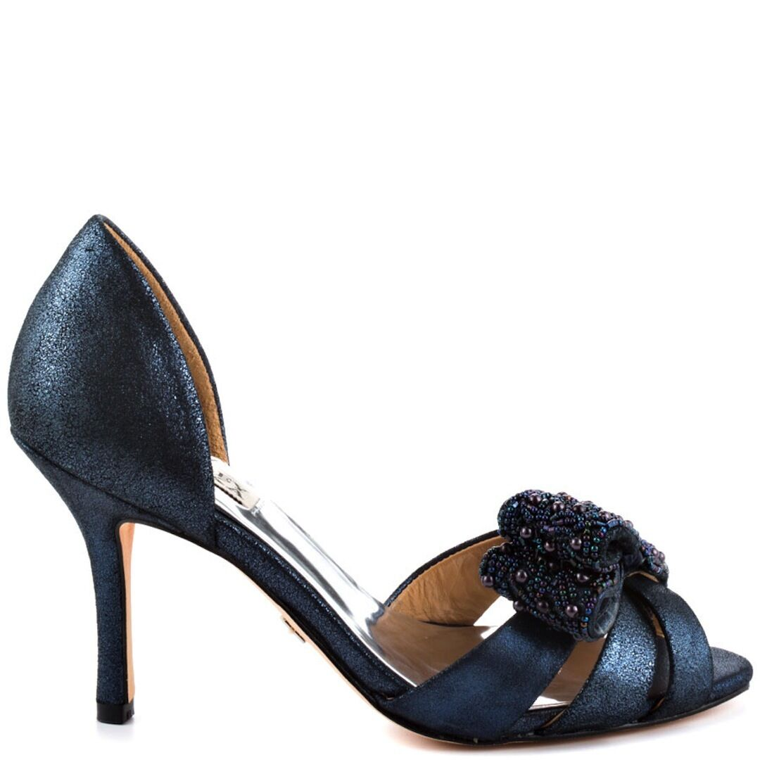 NIB Badgley Mischka VITA leather D'orsay heel sandals open toe shoes navy blue 8