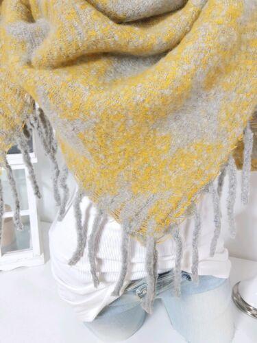 XXL Foulard étoiles Franges écharpe blotissement Poncho jaune gris hiver Tournant écharpe