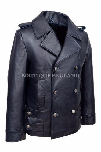GERMAN NAVAL Navy Blue Men/'s Classic  Military Hide Leather Coat Jacket  8971