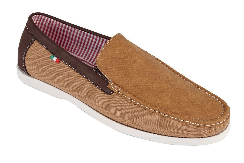 D555 Leinen/Veloursleder Mix Slip On Schuhe (Claude) in hellbraun