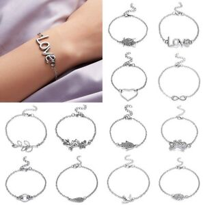 Stainless-Steel-Silver-Bracelet-Bangle-Adjustable-Chain-Women-Fashion-Jewellery