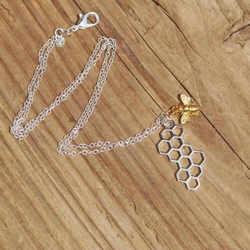 Sterling Silver Gold Bee And Honeycomb Charm Pendant Necklace Worker Bee Boxed