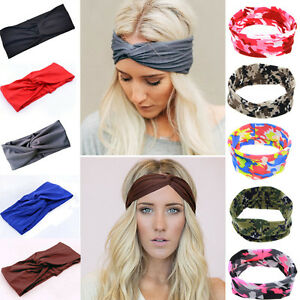 mode damen turban knoten verknotet haarband sport tarnung stirnband 10 farben ebay. Black Bedroom Furniture Sets. Home Design Ideas