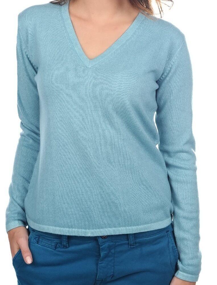 Balldiri 100% Cashmere Damen Pullover 2-fädig V-Ausschnitt turmalin S