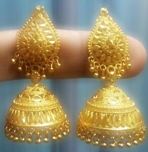 indian earrings wide filigree big gold