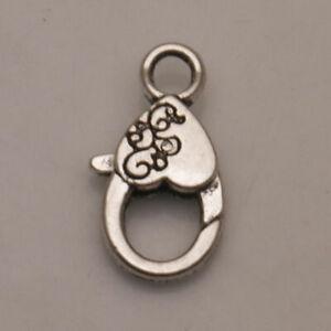 Bracelet-Hooks-Tibetan-Fit-Heart-Findings-Jewelry-Silver-Charms-Lobster-Clasps