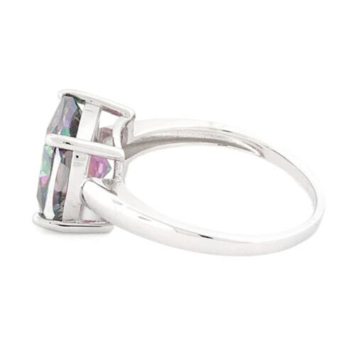 Details about  /Sterling Silver Large Cushion Cut Rainbow Topaz Cubic Zirconia Statement Ring UK