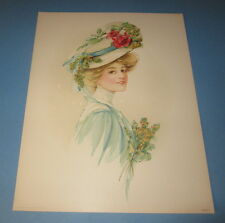 Old Vintage 1908 - Antique VICTORIAN PRINT - Lady - RED ROSE Flower HAT