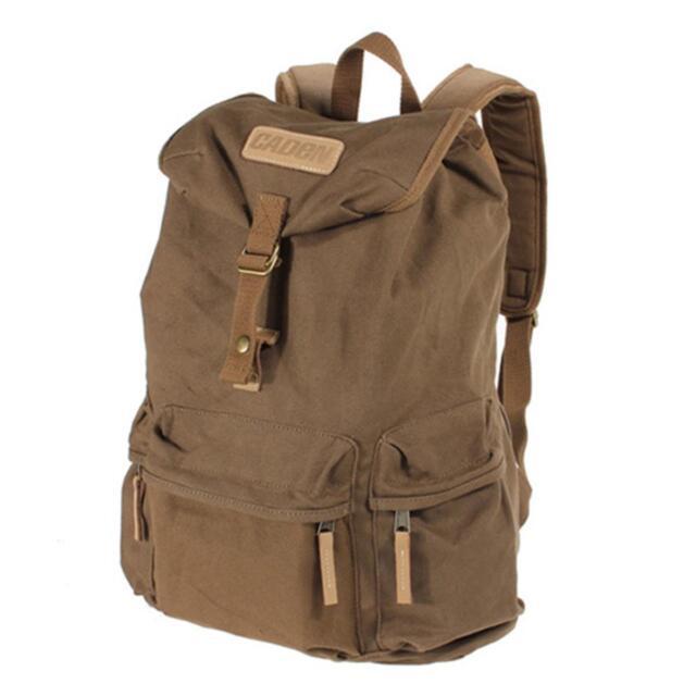 Coffee Vintage Canvas DSLR Camera Case Bag Backpack Travel Hiking Sport Rucksack