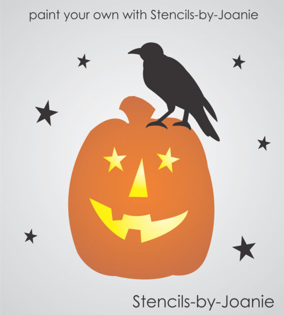 "STENCIL 4"" tall Prim Crow Jack Lantern Pumpkin Star Shape Country Fall Art Signs"