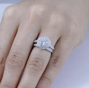 2PC Sterling Silver Cz Round Halo Wedding Band Engagement Ring Set
