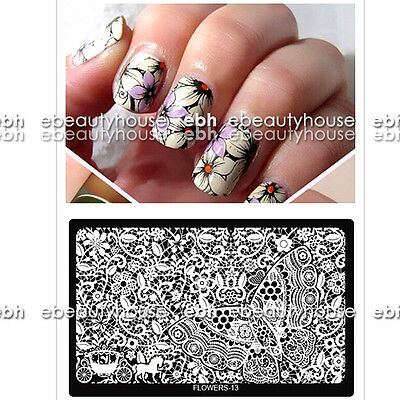 #01-20 FLOWER New Design Nail Art Image Stamp Stamping Plates Manicure Template