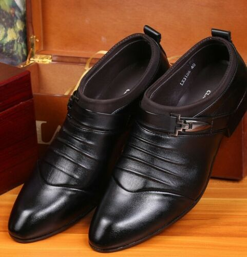 NEW-Men-039-s-Formal-Wedding-Oxfords-Casual-Leather-Shoes-Pointed-Toe-Dress-Shoes