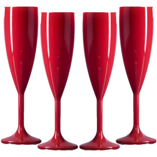 Red Plastic Polycarbonate Champagne Flutes Made in UK