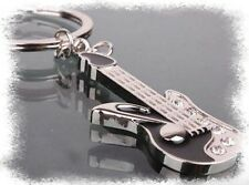 SALE! Music Musical Guitar Rhinestone Crystal Keychain Keyring Black Silver