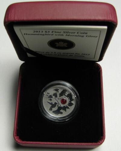2013 Proof $3 Hummingbird Morning Glory crystal Canada .9999 silver three