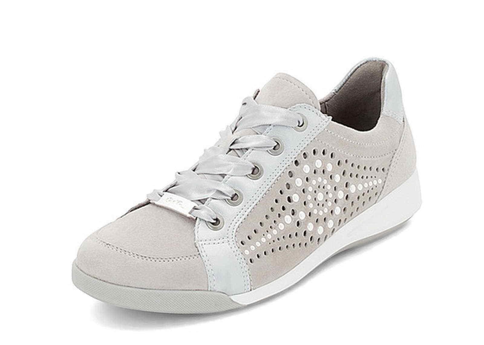 Ara Sneaker Schnür Rom 34418 06 grau kiesel silber silber silber Nubuk Leder Halbschuh 0c0119