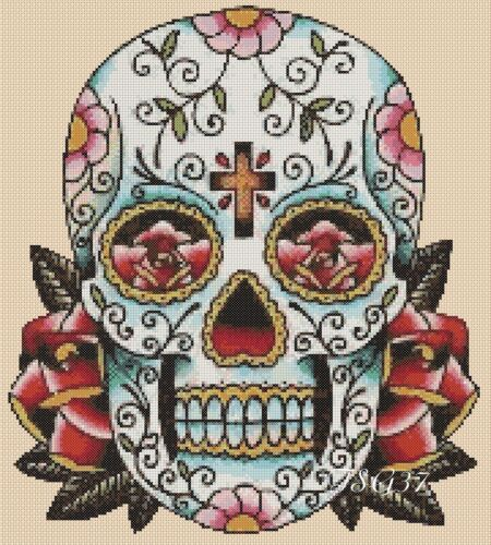 sugar skull roses 9 .TSG37 day of the dead no Cross Stitch Chart