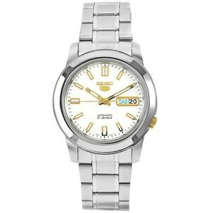 Seiko-5-SNKK07-K1-Silver-with-White-Dial-Stainless-Steel-Men-039-s-Automatic-Watch