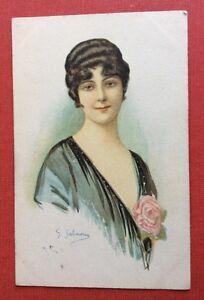 CPA-Illustrateur-SALMONY-Jeune-Femme-a-la-rose-902-3-Milano