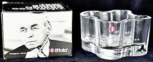 *Iittala* glass Alvar Aalto Discontinued 55mm tealight holder Pale Blue.