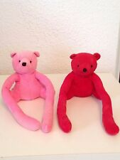 TWO BEARS REALLY LONG ARMS RED AND PINK ITEMS CLEAN AND GREAT SHAPE