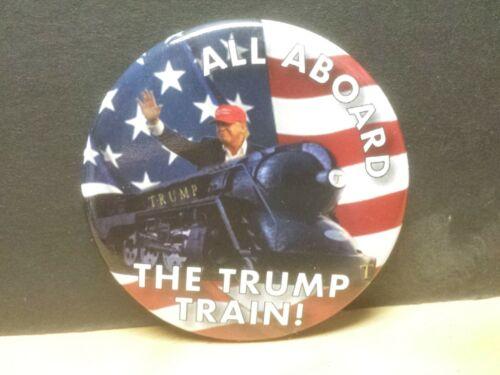 """2020 Donald Trump 2.25/""""  All Aboard The Trump Train Presidential Campaign Button"""
