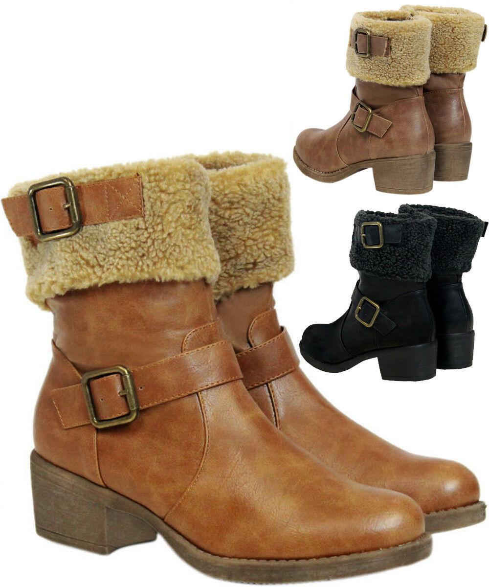 Ladies Womens Fur Collar Zip Up Biker Heel Hiker Ankle Boots Shoe Size 3-8