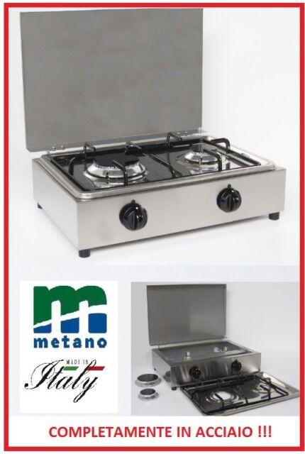 Fornello a gas Metano 2 fuochi completamente acciaio inox Made in ...