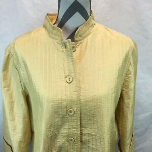 Chicos Womens Lined Pleated Button Front Yellow Shirt Top Blouse Jacket Sz 3 DD3