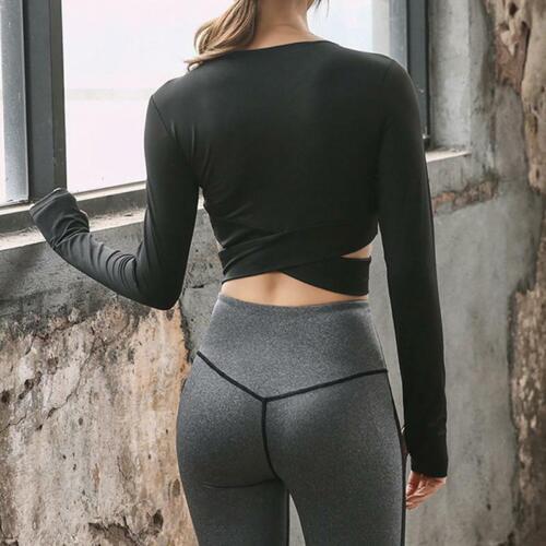Fashion Women Fitness Running Lady Cropped Top Gym Short Sleeve Sports Shirts JJ