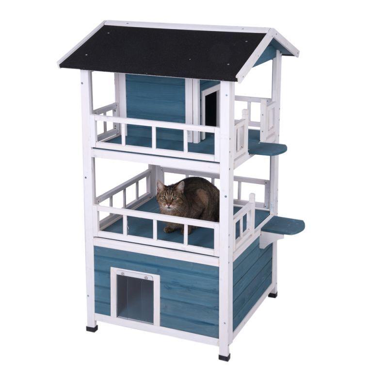 Cuccia in legno per cani e gatti esterno con scala e terrazza  regalo. omagio