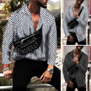 Men-039-s-Dot-Print-Summer-Shirts-Long-Sleeve-Hippy-Casual-Loose-Party-Dress-Shirts