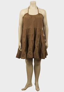Ladies-Light-Brown-Cord-Dress-Plus-Size-womens-corduroy-tiered-tie-up-neck-ladys