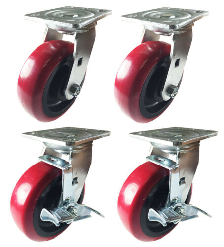 "4 Heavy Duty Caster Set 4/"" 5/"" 6/"" Polyurethane Wheels No Mark Non Skid Brake"