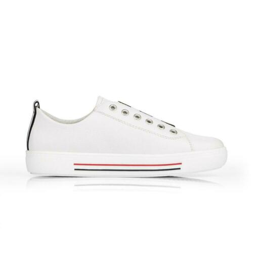 Remonte D0905-80 Ladies White Leather Slip On Shoes