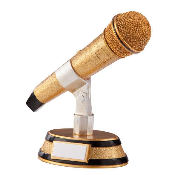 Karaoke King Música Premio Micrófono Talent Trofeo oro Acabado - Grabado Gratis