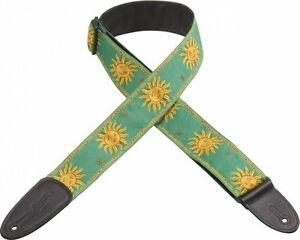 Levy-039-s-MPJG-2in-Jacquard-Leather-Backed-Sun-Guitar-Strap-Green