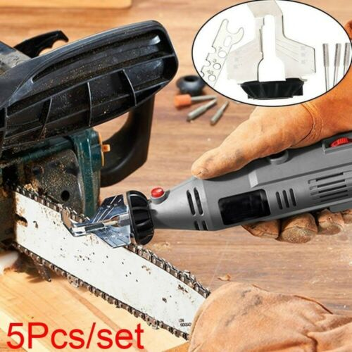 5PCS//Set Chainsaw Sharpener Electric Grinder Chain Saw Grinder Tool Attachment