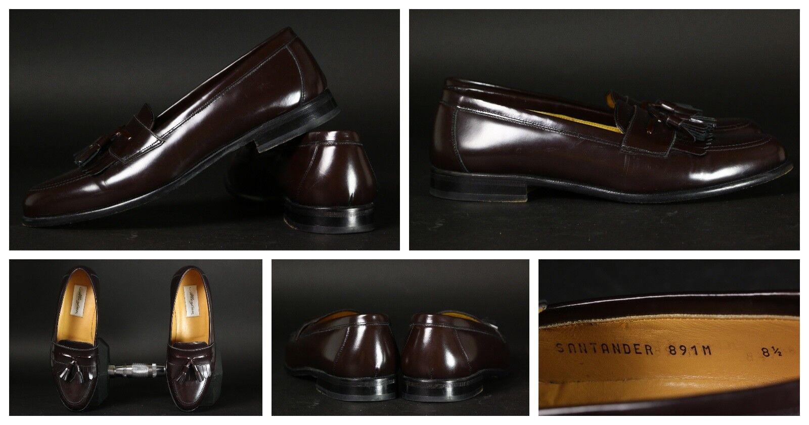 MEZLAN Santander Men's Burgundy Leather Kiltie Tassel Loafers Size 8 1 2 M Spain