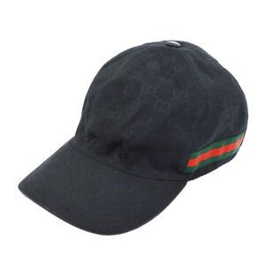bd5dc56602120 Authentic GUCCI Vintage Shelly Line GG Pattern Hat Cap Black  XL ...