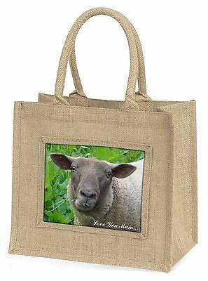 Niedliche Schafe 'Liebe, die Sie Mama' Große Natürliche Jute-einkaufstasche