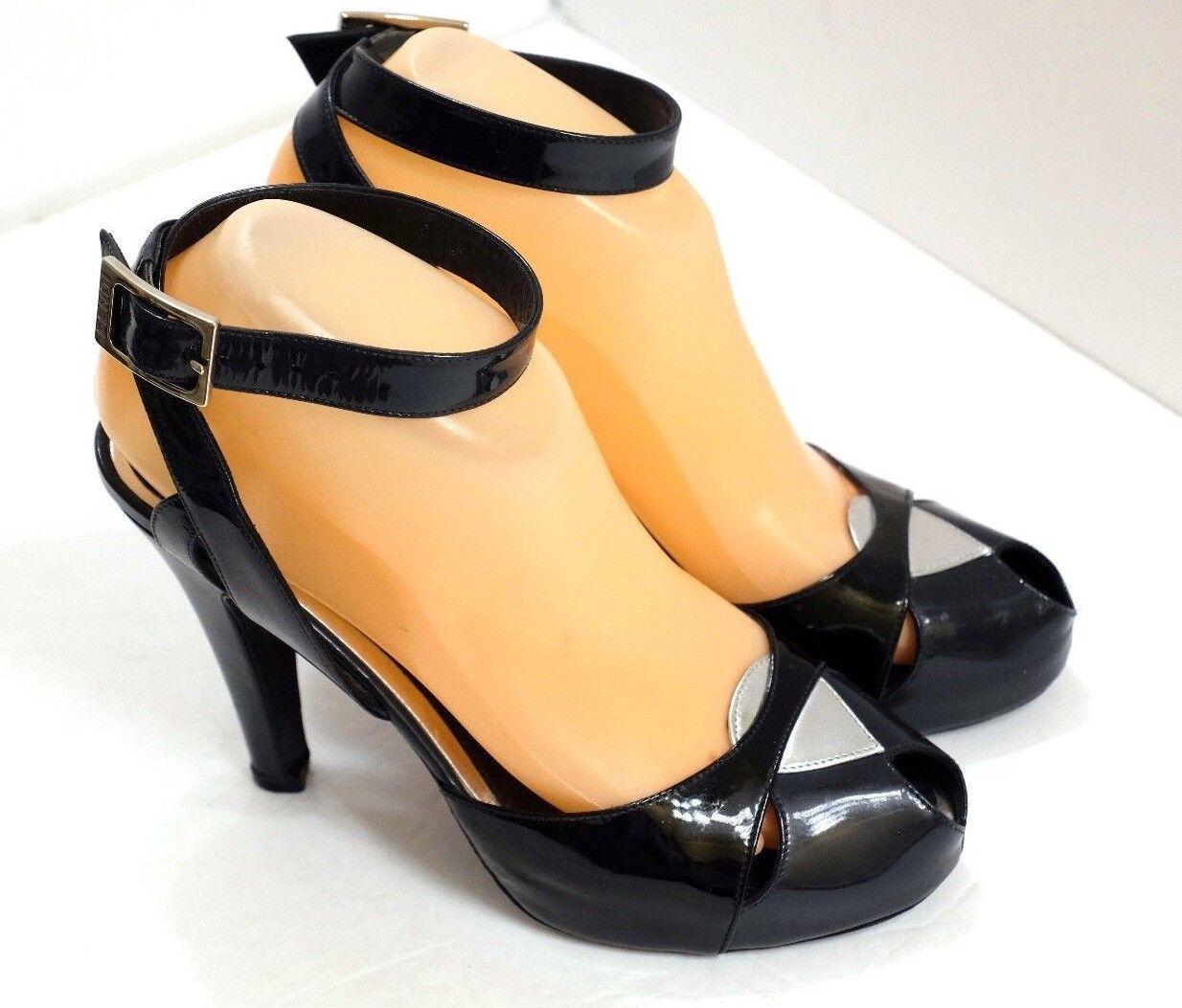 VGUC Genuine Fendi Women's EU 37 1 2 US 7 Black Patent Leather Ankle Strap Pumps